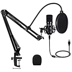 【PROFESSIONAL MICROPHONE BUNDLE】:Designed with professional sound chipset, with high sampling rate192kHz/24bit, flat frequency response 100Hz-18kHz, perfect for vocal, singing, sound reproduce. This condenser microphone features noise reduction, and ...