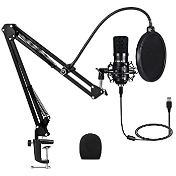 USB Streaming Podcast PC Microphone,Professional Computer Mic 192kHz/24bit Studio Cardioid Condenser Mic Kit with Sound Card Boom Arm Shock Mount Pop Filter for Skype  Black