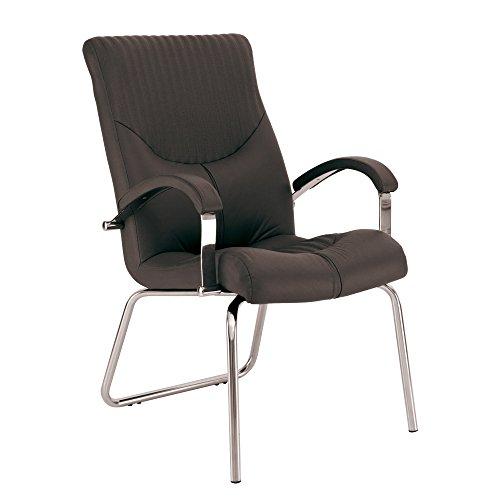 Hermes – Sedia da ufficio / sedia da salotto di lux, altezza seduta 45 cm, ergonomica schienale a sostegno lombare (nero, sedia per conferenza)