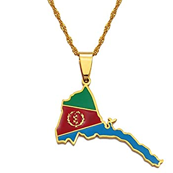 Eritrea Map Flag Pendant Thin Necklaces Gold African Map of Eritrean Necklace