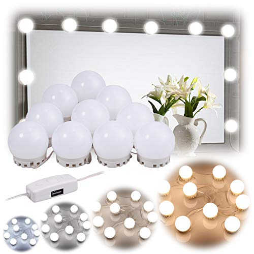 AUTOUTLET LED Spiegelleuchte, Hollywood Stil 10 Dimmbar Schminklicht 7000K Make Up Licht, Beauty Schminktisch Leuchte, Schminkleuchte, Spiegellampe Schminktisch/Badzimmer Spiegel