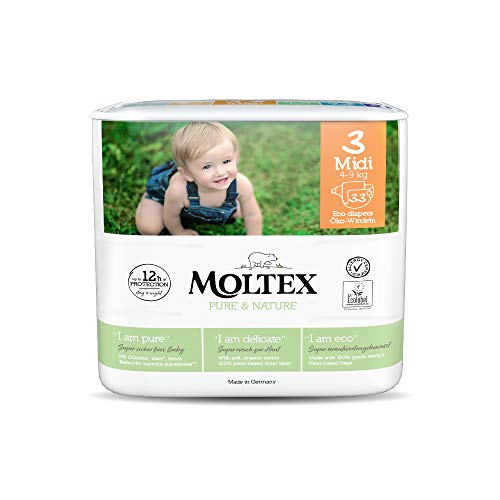 Moltex Pure & Nature - Pañales (talla 3, talla 3), color negro