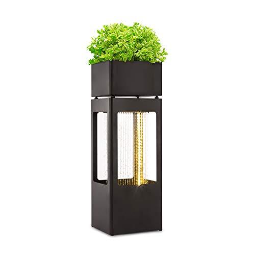 blumfeldt Waterplant Gartenbrunnen - stetiger Wasserumlauf mit Loopflow Concept, Pumpe mit 16 Watt, Schutzart: IPX8, 9 kg, LED-Lichtleiste, Material: verzinktes Metall, für drinnen und draußen
