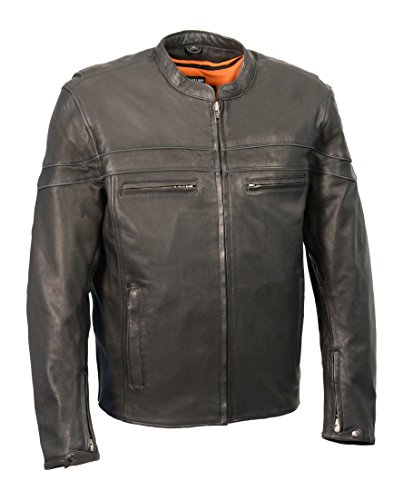 Milwaukee Leather Men's Premium Leather Vented Scooter Jacket (Black, Large)