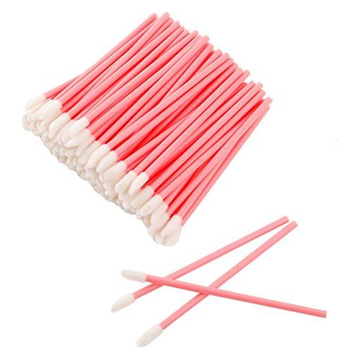 adakel 100 Stück Einweg Lippenpinsel, Bürsten Lippenstift Gloss Zauberstäbe Concealer Applikator Kosmetik Make-up Tool-Kits(Rosa)