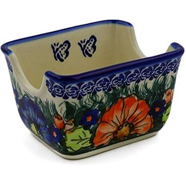 Polish Pottery Sugar Packet Holder 3-inch Butterfly Splendor UNIKAT