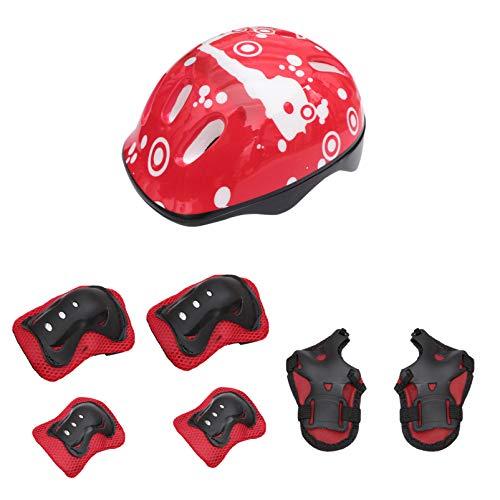 NUOBESTY Rodilleras Rojas para Niños Almohadillas para Codo Protectores de Muñeca Equipo de Casco para Bicicleta Monopatín Ciclismo Patinaje Bicicleta Monopatín