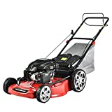 PowerSmart Lawn Mower, 22-inch & 200CC, Gas Powered Self-propelled Lawn Mower with 4-Stroke Engine, 3-in-1 Gas Mower in Color Red/Black, 5 Adjustable Heights (1.2''-3.5''), PSM2322SR