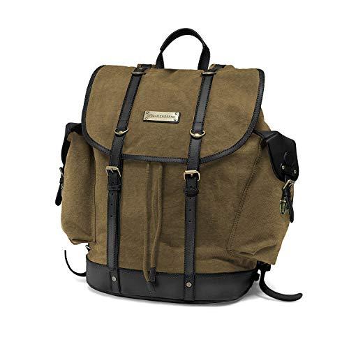 DRAKENSBERG Backpack - Zaino da alpinista e cacciatore retrò in stile retrò vintage, scomparto per laptop da 13', realizzato a mano in qualità premium, 30L, tela e pelle, verde nero, DR00227