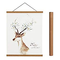 Magnetic Poster Hanger Frame, 18x24 18x12 18x28 Light Wood Wooden Magnet Canvas Artwork Print Dowel Poster Hangers Frames Hanging Kit (Teak Wood, 18)
