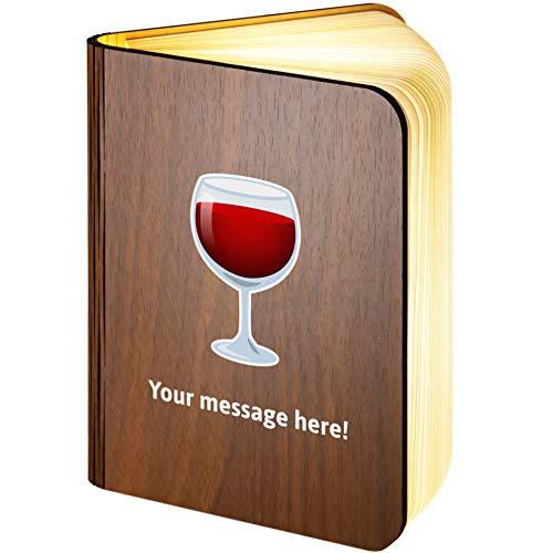 Personalisierbare Leselampe aus Holz, faltbar, magnetisch, mit Weinglas-Emoji, Large