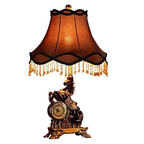 PDXZM Lampara de Mesa Caballo del Dormitorio Dormitorio Reloj Retro Sitio De La Investigación Interruptor De Control Remoto Lámpara De Cabecera Regulable De Estar Decorada con Lámpara Lampara Estudio