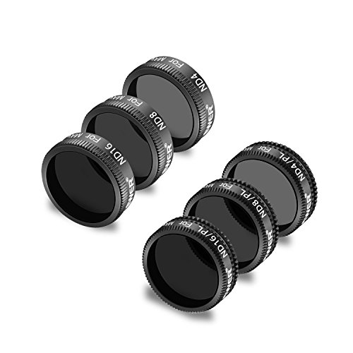 Neewer 6 Piezas Pro Kit Filtro Densidad Neutra para dji Mavic Drone Quadcopter:ND4,ND8,ND16,ND4/PL,ND8/PL,ND16/PL,Impermeable con Recubrimiento Múltiple Vidrio Optico(Negro)