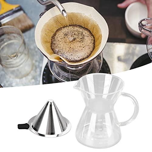 Cafetera de vidrio de 400 ml resistente al calor, microfiltración de malla de acero inoxidable, regalos de inauguración y uso en la cocina del hogar(flat)