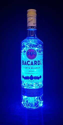 Bacardi Rum - Flaschenlampe mit 100 LEDs Blau Upcycling Geschenk Idee