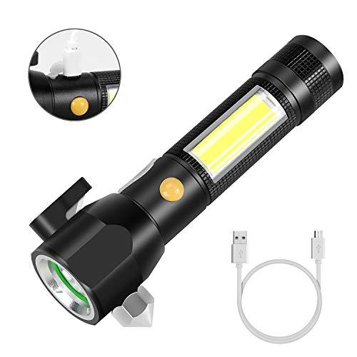 LED Taschenlampe, Welltop Wasserdicht COB Arbeit Taschenlampe Magnetische USB Aufladba Taschenlampen, 5 Licht-Modi,mit Notfallhammer, Gurtsschneider für Auto Reparatur, Camping, Notbeleuchtung