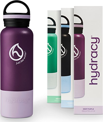 Hydracy Water bottle - Vacuum Insulated Stainless Steel Double Walled Flask - Cold 24 Hours Hot 12 Hours - BPA-Free Leakproof Wide Mouth Lid - Deep Purple