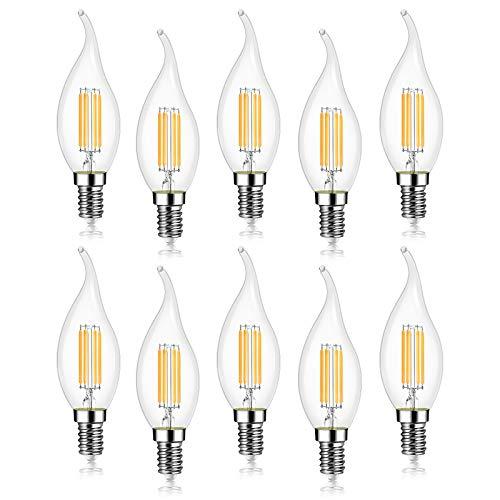 EXTRASTAR Lampadina Filamento LED Fiamma, Attacco E14, 4W Pari a 40W, Bianco Caldo 3000K, Confezione da 10 Pezzi