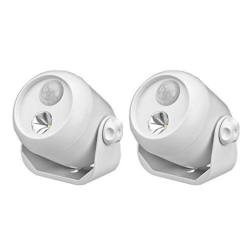 Mr Beams drahtloser, batteriebetriebener LED Mini Scheinwerfer mit Bewegungsmelder und Lichtsensor weiß MB302 (2-er Pack)