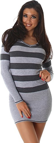 Jela London Slim-Fit Pullikleid Longpulli Pullover dünn Minikleid Feinstrick Streifen V-Ausschnitt, Grau