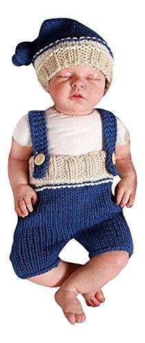 2 tlg. Baby Fotos Häkelkostüm Strick Newborn Fotoshooting Blau Beige 0-1Monat
