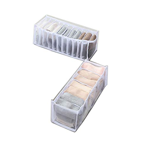 HULIJUAN Mesh Underwear Storage Boxes with 6/7/11 Compartments, Thickened Version Underwear Drawer Organizer Divider, Panties Bra Socks Storage Box D 2PCS White
