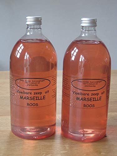 Vloeibare Marseille zeep pompje 2x 1 liter Roos