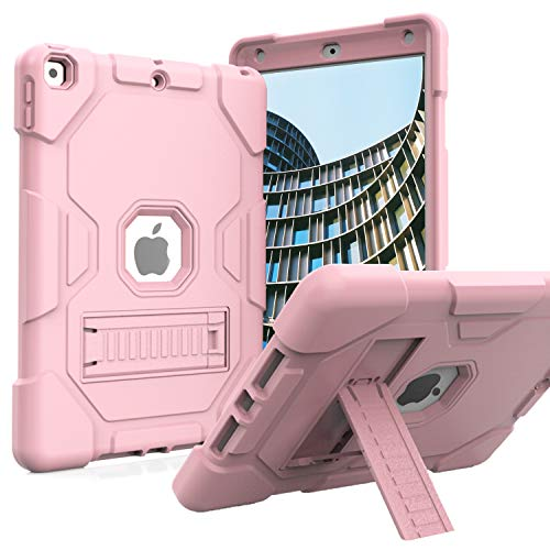 ZoneFoker iPad 10.2 2020/2019 Case,New iPad 8th/7th Generation Case with Stand,Slim Heavy Duty Shockproof Rugged Case Hard PC+Silicone Hybrid High Impact Full Body Protective Case (Rose Gold)