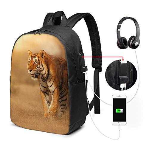 Mode Frau Tasche große Tiger männliche Natur Lebensraum Tiger High School Bag mit USB-Ladeanschluss und Kopfhöreranschluss für College-Arbeit Reise
