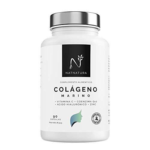 Colágeno Marino Hidrolizado. Colágeno Ácido Hialurónico + Coenzima Q10 + Vitamina C + Zinc. Energía Piel sana, Articulaciones fuertes. 90 cápsulas vegetales máxima pureza y efectividad.
