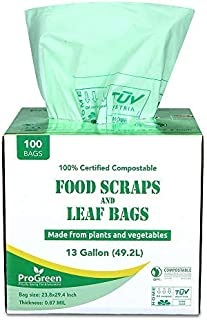 ProGreen 100% Compostable Bags 13 Gallon, 100 Count, Extra Thick 0.87 Mil, Tall Kitchen Compost Trash Bags, Food Scrap Yar...