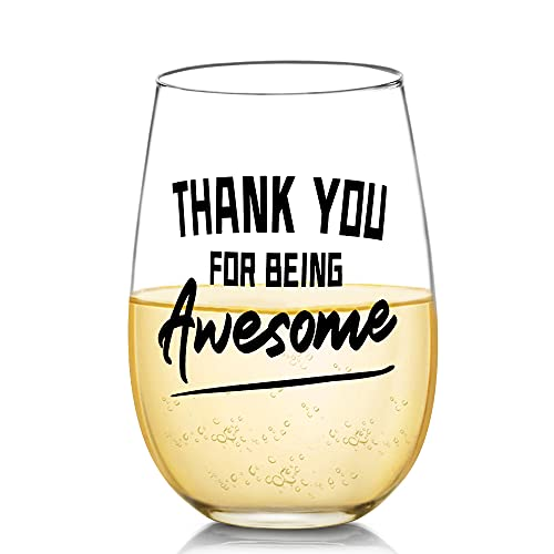 Thank You Gifts for Men or Women - Thank You For Being Awesome Funny Wine Glasses, Birthday Christmas Gifts for Friend Coworkers Boss Wife Husband Sisters Teacher Her, Presents Gifts Ideas Bday, 17 oz
