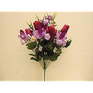 "JumpingLight Beauty Purple Mix Tulip Iris Bush 22 Artificial Silk Flowers 22"" Bouquet 4927BP Artificial Flowers Wedding Party Centerpieces Arrangements Bouquets Supplies"