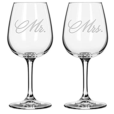 National Etching Mr and Mrs Wine Glasses, Set of 2