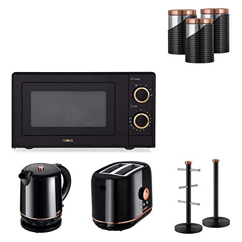 Set of 8 Tower Rose Gold & Black 700w 17L Manual Microwave 1.5L Jug 2200W Kettle, 2 Slice Toaster,Rose Gold Black Set of 3 Canisters and Matching Towel Pole and Mug Tree.