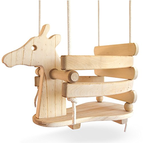 Wooden Giraffe Swing Set for Toddlers -...