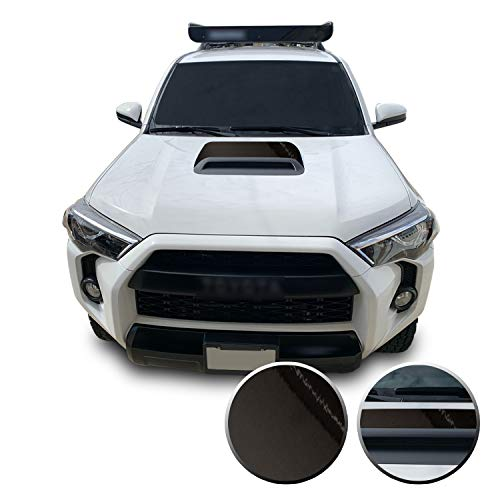 Optix Hood Scoop Vinyl Graphic Overlay Wrap Decal Compatible with 4Runner Trail TRD Offroad Pro 2010-2020 - Chrome Dark Black Grey