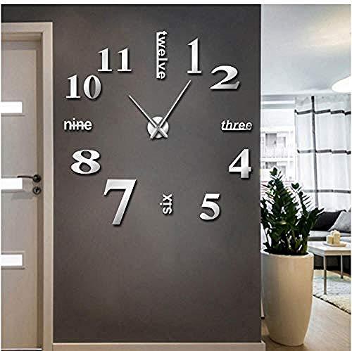 BBNNN Reloj de Pared Moderno Gran Mudo DIY Oficina en el hogar 3D Espejo Superficie Pegatinas de Pared Reloj de Pulsera Gigante sin Marco 47 Pulgadas