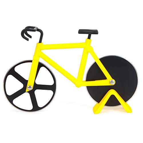 Bicycle Pizza Cutter, Bicycle Shape Dual Pizza Cutter Wheels with Dual Stainless Steel Blade, Non-stick Bike Pizza Slice for Pizza Lovers, Holiday Vacation, Funny Kitchen Gadget, Men's Birthday Gift