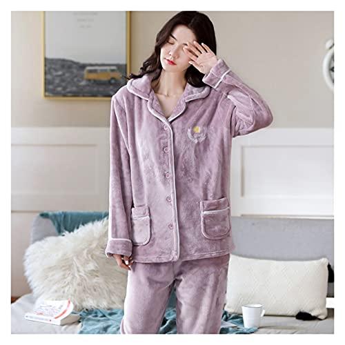 FFF8 Mujeres Pijamas Conjuntos a lápiz Impreso Pijama Cuello de Apagado Ropa de Dormir Dama Manga Larga Invierno Ropa de Dormir Femme 2 Piezas Homewear