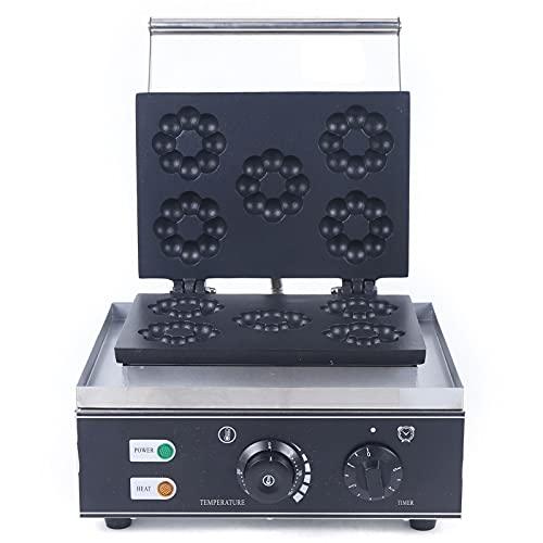 Donut Maker - Gofrera belga (1500 W, control de temperatura ajustable, 5 donuts, revestimiento antiadherente, luces indicadoras, con temporizador)
