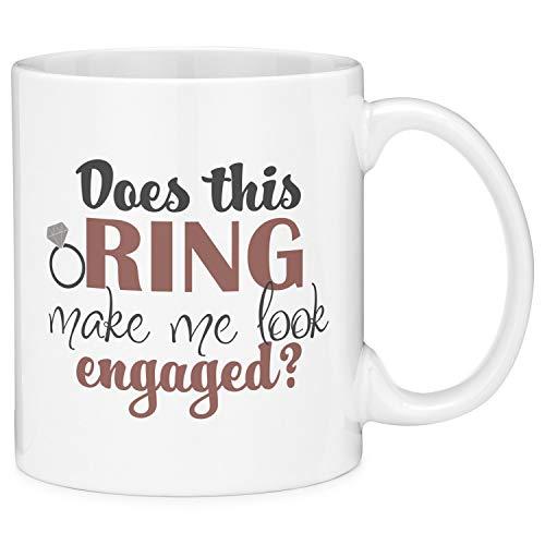 N\A ¿Este Anillo me Hace parecer comprometido? Taza de café de Regalo con Cita de Boda con Anillo de Compromiso (11 oz)