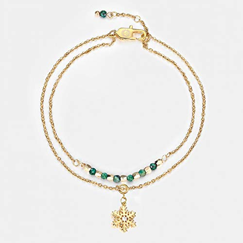 KUANGLANG Bohemia Bead Anklet Women Foot Chain Snowflake Charm Ankle Bracelet Beach Jewelry Valentines Gift