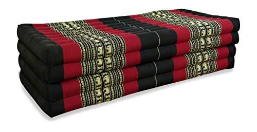 livasia Klappmatratze extrabreit (195cm x 110cm) aus Kapok, Faltbare Gästematratze, klappbare Matratze, asiatische Faltmatratze (schwarz/Elefanten)