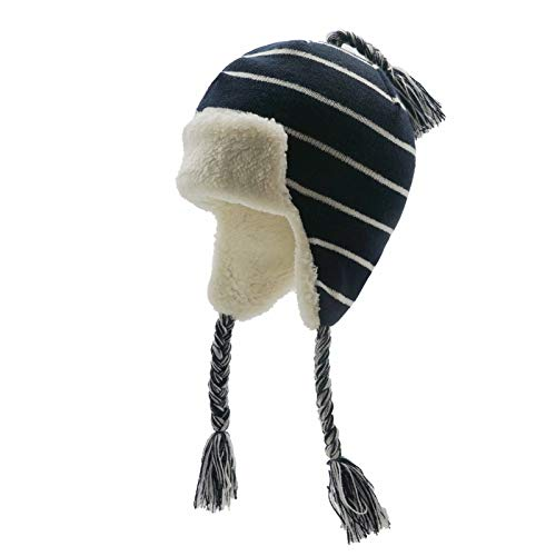 Vimfashi Toddler Boys Girls Warm Fleece Lined Hat with Tassel Earflaps Stripe Knit Beanie Hat Black-White