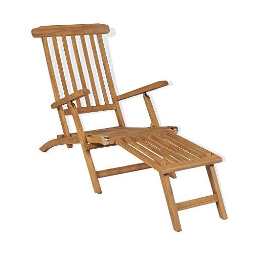 festnight tumbona de jardín reclinable baño de sol de madera de teca con reposapiés para détendre 158 x 61 x 90 cm