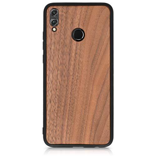 kwmobile Holz Schutzhülle für Huawei Honor 8X - Hardcase Hülle mit TPU Bumper Walnussholz in Dunkelbraun - Handy Case Cover - 3