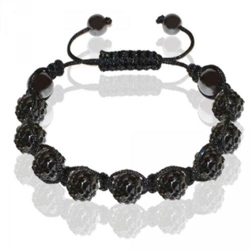 SoulCats® Shamballa Armband Straß Glitzer Glücksbringer mit 9 Kristall Kugeln einfarbig, Farbe:schwarz