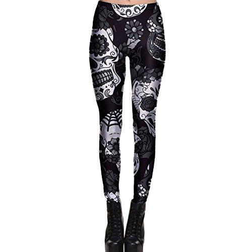 Yying Mujer Leggings Pantalón Halloween Cráneo Polainas Moda Impresión Digital del Hueso Fantasma Elásticos Pantalones de Fitness Gótico Skinny de Pantalón de Yoga para Mujer S - 4XL