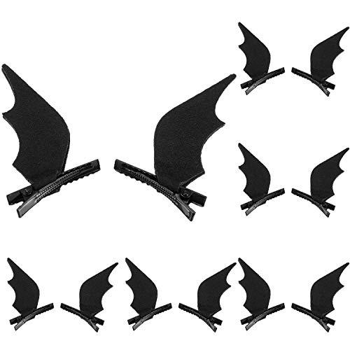 WILLBOND 6 Pares de diadema de murciélago, pinzas para el cabello de dibujos animados de Halloween, accesorio de cabeza de disfraces de Halloween Cosplay